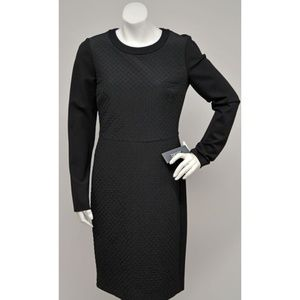 NWT DKNY Black Quilted Front Long Sleeves Dress 4